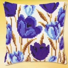 This delightful cushion is covered in Blue Tulips- a little unusual but very eye catching. Cross Stitch cushion kit on printed hpi canvas x Needlepoint Pillows, Needlepoint Kits, Bargello Needlepoint, Crochet Cushions, Tapestry Crochet, Cross Stitch Designs, Cross Stitch Patterns, Cushion Embroidery, Cross Stitch Cushion