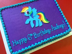 Rainbow Dash bash sheet cake.  Buttercream cake with 2D fondant topper.  Cake Couture fondant.