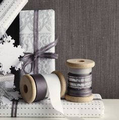 Gray Christmas wrapping ribbons and presents