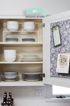 How To Organize Your Kitchen Cabinets + DIY Message Board