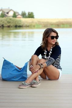 The relax nautical look by the seafront: Breton striped top, white shorts, boat shoes, longchamp bag.