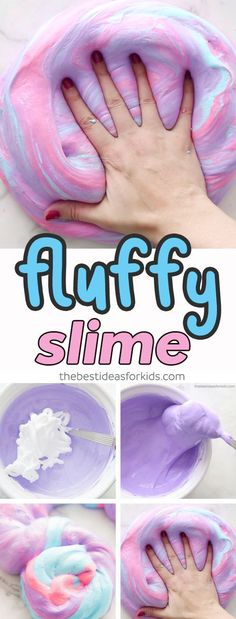 Fluffy Slime Recipe for Kids - this slime recipe is without borax and made with shaving cream. Easy fluffy slime recipe. Best fluffy slime recipe. Make 3 different colors to turn it into unicorn fluffy slime!