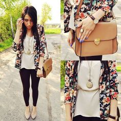 Cute match up with a floral cardigan .......long with a long blouse and black tights with flats! Plus a side bag........This outfit sure fits for either spring or summer Unique Fashion, Look Fashion, Fashion Outfits, Womens Fashion, Fasion, Fashion Trends, Spring Summer Fashion, Spring Outfits, Autumn Fashion