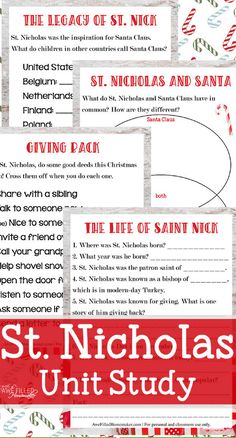 Want to learn more about St Nicholas? This unit study will give you facts on the life and ministry of St Nicholas. School Plan, School Ideas, Christmas Trivia, Christmas Ideas, St Nicholas Day, Christian Crafts, Christmas Activities For Kids, Facts For Kids, Sunday School Lessons