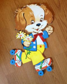 Vintage Roller Skating Puppy Wall Hanging by FawnVintage01 on Etsy, $24.00