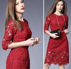 Vestido Elegante Floral Lace Crochet  Vintage