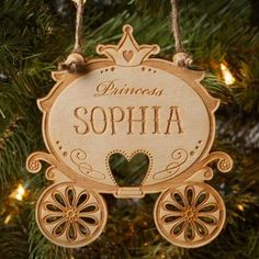 Princess Carriage Personalized Wood Ornament, Multicolor