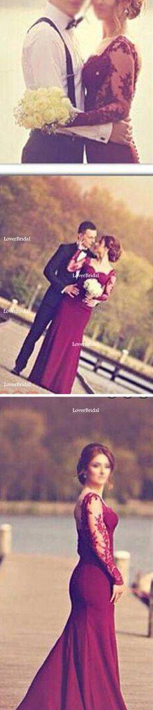 Burgundy Jersey Long Sleeve Lace Wedding Dresses, Popular Prom Dresses, WD0060
