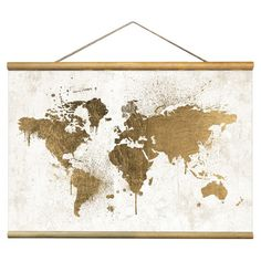 Bring a touch of chic style to your living room or master suite with this eye-catching tapestry, showcasing a map motif in gold. Made in the USA.