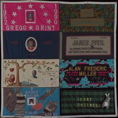 This is a current way people remember their dead. I am a huge AIDS activist. Its truly therapeutic to do a quilt for someone. AIDS Quilt Touch