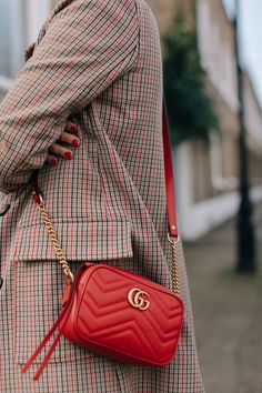 What Designer Bags are worth the Investment on Fashion Blog A Style Album  Check Coat  H&M Coat  Red Gucci Bag  Street Style  Gucci