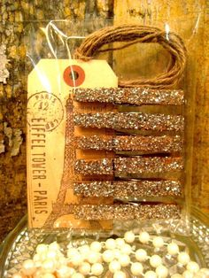 Glittered and Antiqued Silver Clothespins