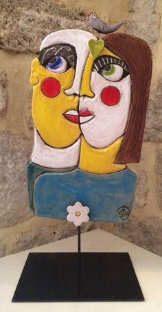 Pottery Angels, Paper Mache Crafts, Art Nouveau Architecture, Funky Art, Masks Art, Mixed Media Canvas, Omelette, Face Art, Clay Art