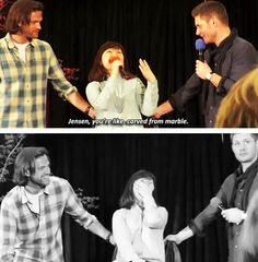 [gifset] Jensen, Jared and #puppycastiel with the last question at #SeaCon15