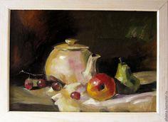 Купить Натюрморт с чайником и фруктами - белый, зеленый, чайник, фрукты, груша, яблоко, виноград