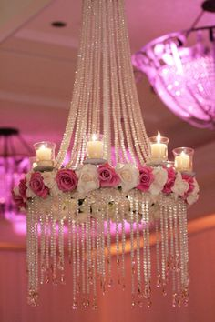 Floral chandeliers are the hottest wedding trend at the moment, will you be having one at yours like this crystal chandelier with pink and white roses? Black Wedding Themes, Top Wedding Trends, Pink Wedding Theme, Green Wedding, Fall Wedding, Wedding Reception, Wedding Flowers, Wedding Dress, Lustre Floral