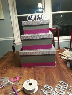 Pink and Grey wedding card box.