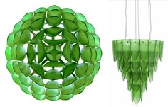 Glass from recycled wine and beer bottles is shaped like a pine cone to make a chandelier.