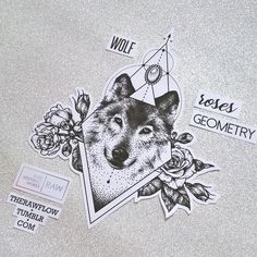 Dotwork wolf roses sternum underboob tattoo design - custom design for @siancarter.x