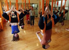Antigravity Yoga is the latest fad incarnation of yoga for New York's fashion-conscious. A contraption consisting of a hammock suspended from the ceiling allows people to stretch in entirely new directions, including upside-down.