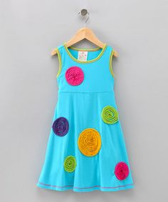 Me & Ko Turquoise Lollipop Swing Dress - Girls Cute Girl Outfits, Pretty Outfits, Fashion Kids, Nice Dresses, Girls Dresses, Summer Dresses, My Princess, Swing Dress, Kids And Parenting