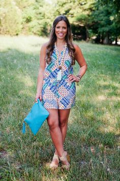 Teal Boutique Romper, Gigi New York Clutch, Betsy Pittard Necklace