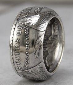 Silver Morgan Dollar Coin Ring Customized In All Years Size 4 to 16 Silver Dollar Coin, Morgan Silver Dollar, Silver Coins, Coin Jewelry, Steel Jewelry, Jewellery, Jewelry Rings, Jewelry Watches, Sterling Silver Mens Rings
