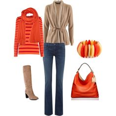 orange - love the warm color and the bracelet looks like orange slices, yum!