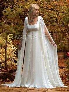 Robe de mariée enceinte mousseline de soie manches longues ouvertes [#M1406065582] - modanie
