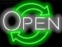 """Eco Open Neon Sign by Open Neon Signs. $169.00. Mounted on a Black Backing for Maximum Visibility!. Brand New, Quality Neon Sign - Delivered to Your Door in a Few Days!. 24"""" wide x 18"""" high. Neon Attracts Immediate Attention!. This Neon Sign features White Letters with a Green Graphic and measures 24 wide x 18 high. Priced lower than ever, this sign can be delivered to you in just a few days!"""