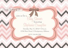 Pink and Gray Chevron Baby Shower Invitation by SimplySouthernbyD, $8.90