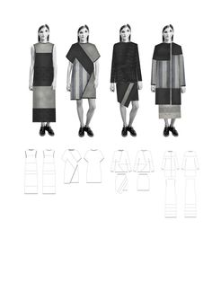 Fashion Sketchbook - knitwear lineup drawings; fashion design portfolio // Mary-Emma Brooks