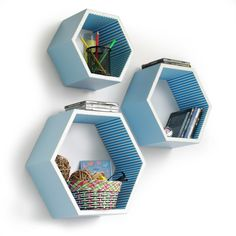 TheDealCutters - Blue Elf Hexagon Leather Floating Wall Shelf (Set of 3), (http://stores.thedealcutters.com/blue-elf-hexagon-leather-floating-wall-shelf-set-of-3/)  #homedecor #wallingshelves #floatingwallshelves #DIY #homeaccents #decor