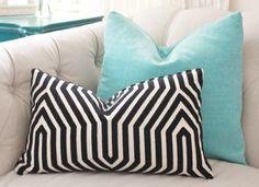 Mary McDonald Pillow Cover - Black & Creme Pillow - Schumacher - Velvet Designer Pillow Cover - Black Geometric Maze Pillow by MotifPillows on Etsy https://www.etsy.com/listing/194782296/mary-mcdonald-pillow-cover-black-creme
