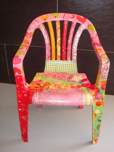 Garden chairs revamped using Decopatch paper.