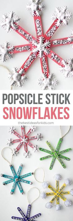 These popsicle stick ornament craft are SO CUTE and easy to make! The best part is the kids can help decorate them. Such an easy Chrsitmas craft! #christmas #popsiclestick #christmascraft #kidscraft via @bestideaskids