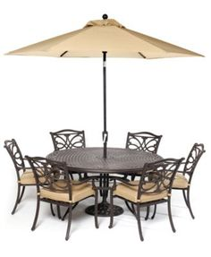"Kingsley Outdoor Cast Aluminum 7-Pc. Dining Set (60"" Round Dining Table and 6 Dining Chairs) 