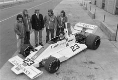 Unfulfilled potential: the launch of the Hill GH2 at Silverstone. Tony Brise at the wheel with Graham and his team.