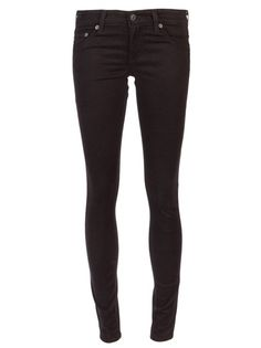 Sateen 'jegging' super skinny jeans in black from Adriano Goldschmied. These soft cotton blend jeans feature two faux front pockets, a small coin pocket on the front, and two back pockets. Has belt loops, tonal stitching, and a zip fly fastening.