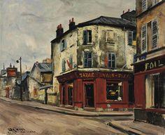 Takanori Oguiss (1901-1986) Rue de Crimée, tabac rouge