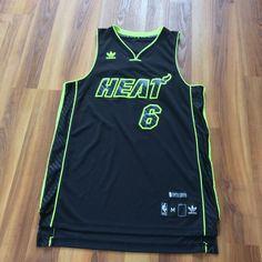 b3b682d4c6c Very Rare LeBron James Miami Heat NBA City Edition Jersey Black Green Size  M Very Rare