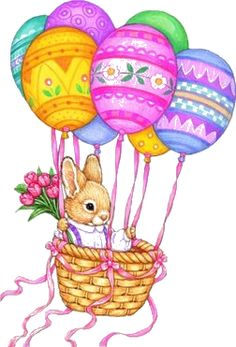 Rabbit in a hot air balloon held up by Easter egg shapes with a blank background Easter Art, Easter Crafts, Easter Eggs, Easter Bunny Pictures, Easter Drawings, Easter Illustration, Easter Wallpaper, Holiday Images, Easter 2020