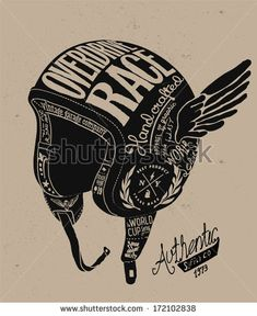 Motorcycle Themed  handmade drawing helmet by yusuf doganay, via Shutterstock