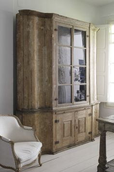 Armoire Cabinet | In this case, used in the kitchen.  I love the idea of 'real' furniture in the kitchen!