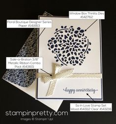 Stampin Up Window Box Anniversary Cards idea - Mary Fish stampinup