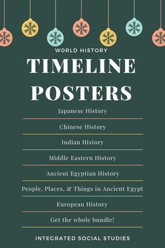 Students struggle with timelines in their history classes. Ease their studies with this full bundle poster resource from my TpT store. Send them to any print shop and you have something useful for learning to decorate your walls. #tptpins #teacherspayteachers #europeanhistory #chinesehistory #japanesehistory #indianhistory #ancientegypt