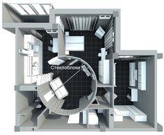 Перепланировка двухкомнатной квартиры в трёхкомнатную. Комната с круглыми стенами. Стеклоблоки в интерьере. Зонирование помещений.
