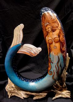 Mermaid with Seahorse by dVINEart on Etsy, $400.00