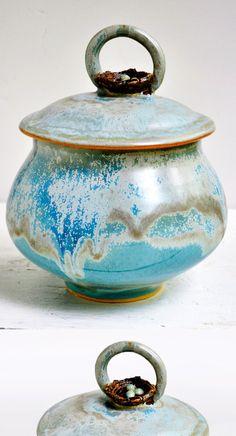Birds Nest ceramic keepsake box - new from Lee Wolfe Pottery