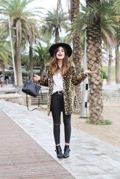 dulceida blogger belt fedora leopard print coat ankle boots bag ripped jeans